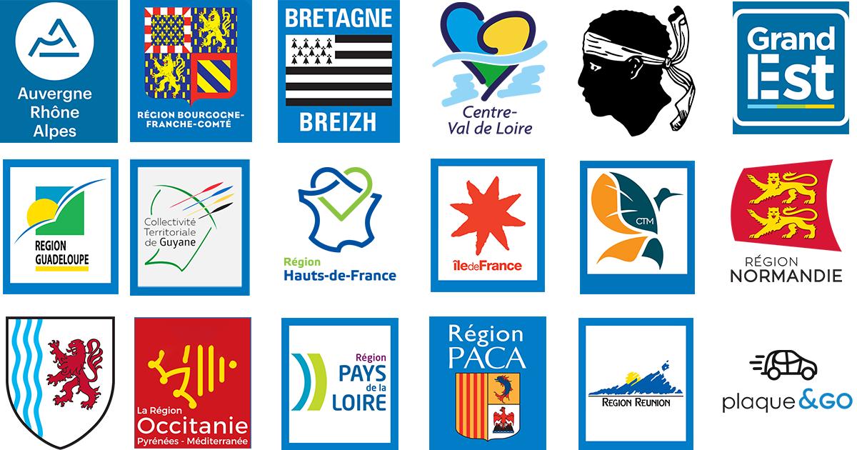 les logos officiels des r gions pour vos plaques d 39 immatriculation plaque go