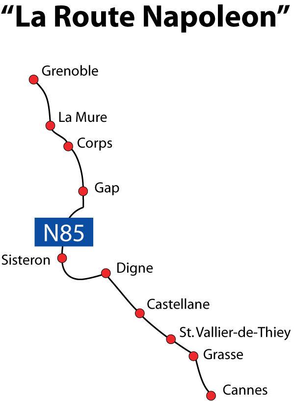 tracé de la route Napoléon