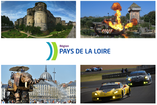 Quelques attraits touristiques de la région Pays de la Loire : château d'Angers, le Puy-du-Fou, les Machines d'Île et les 24h du Mans