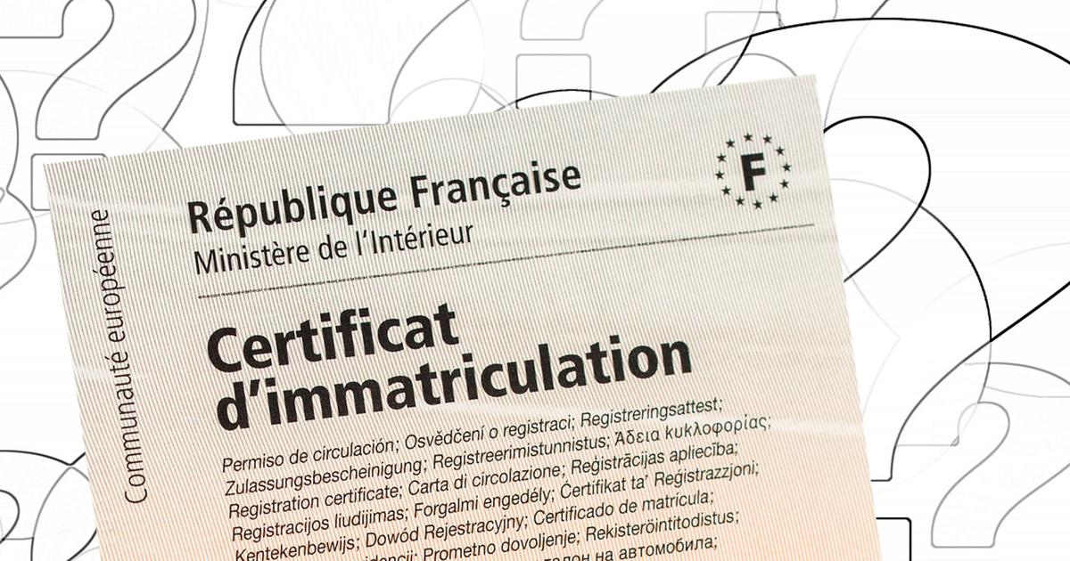 A quoi correspondent les différentes rubriques du Certificat d'Immatriculation?