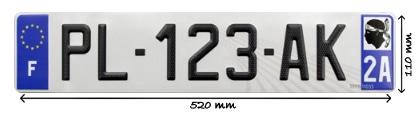 Dimension de la plaque d'immatriculation auto