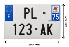 dimension pour la plaque d'immatriculation carré pour motos ou cyclomoteur